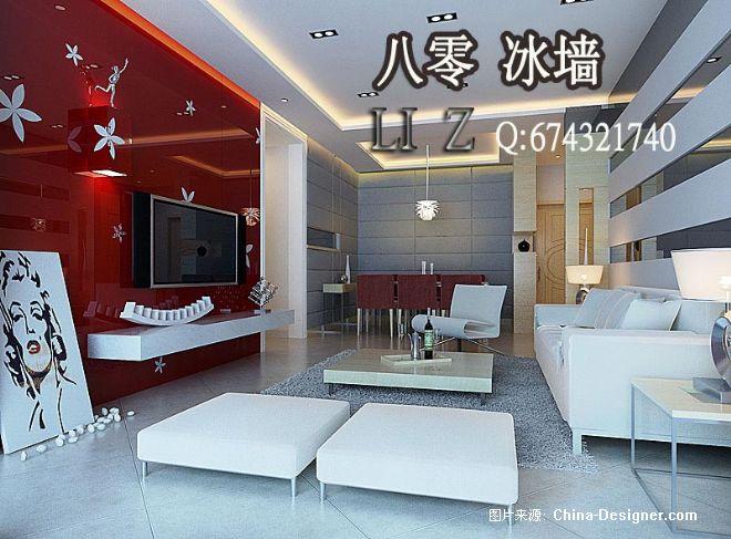 现代简欧式室内效果图客厅80冰墙室内设计16-李震的设计师家园-10-20