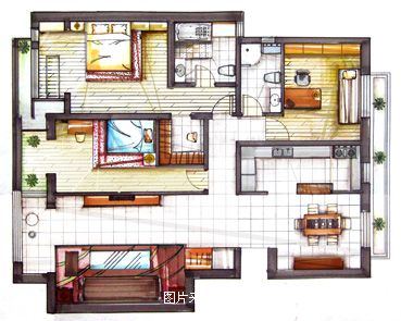 手绘效果图5-张晶的设计师家园-中式