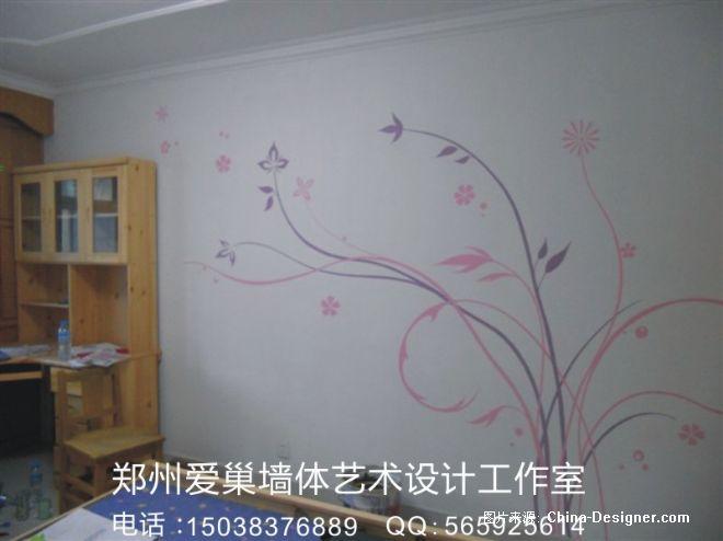郑州墙绘 藤蔓类电视墙 墙绘素材-郑州墙绘-郑州爱巢美居墙绘的设计师
