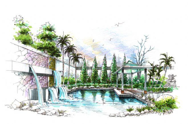 岭南逸园后庭院效果图-吴汀的设计师家园-中式