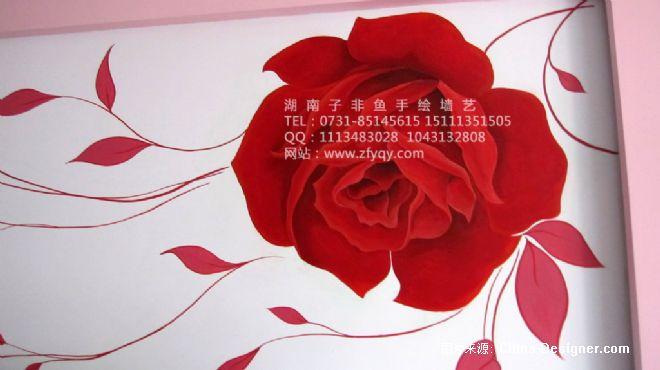 墙绘玫瑰花-长沙墙绘公司-子非鱼手绘墙的设计师家园-手绘玫瑰花电视