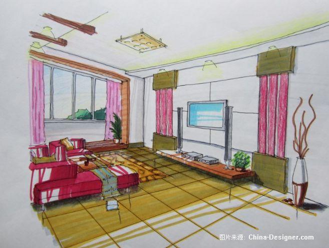 客厅两点透视-郭振伟的设计师家园-郭振伟,手绘