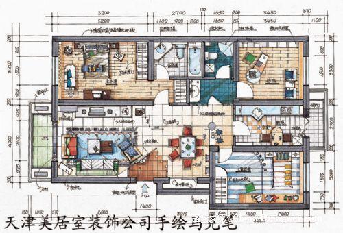 美居室手绘马克笔 现代 户型图-天津美居室装饰工程有限公司的设计师