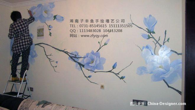 沙发背景简约花朵墙绘-长沙墙绘公司-子非鱼手绘墙的设计师家园-沙发