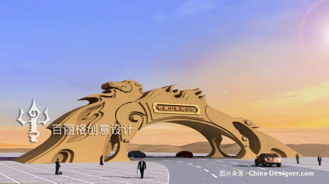 内蒙古阿拉善左旗营盘山景观公园大门-白音朝格图的设计师家园-蒙古设