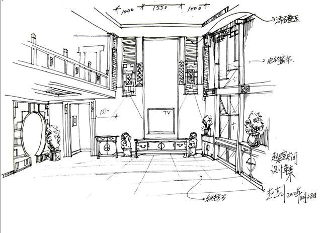 卡通简笔画空房间