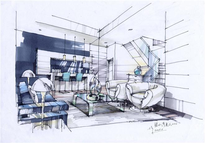 复式住宅室内设计手绘草图-夏培禾的设计师家园-560