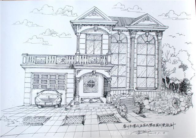 别墅整体外建筑手绘方案设计-尹华的设计师家园-10360,4916